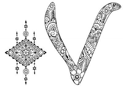 Obraz Litera V urządzone w stylu Mehndi