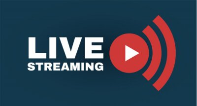 Obraz Live streaming logo with play button. Online stream sign. Flat simple design.