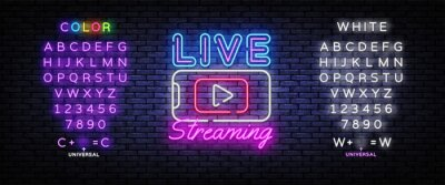 Obraz Live Streaming Only neon text vector design template. Live Video neon sign, light banner, design element, night bright advertising, bright sign. Vector illustration. Editing text neon sign