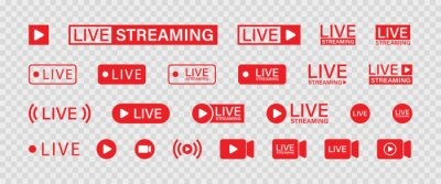 Obraz Live streaming set red icons. Play button icon vector