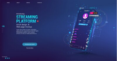 Obraz Live video stream on mobile phone. Online broadcast with chat, likes and emoji. Video stream online on smartphone with user interface app - streaming platform. Mobile phone with UI flat. Vector