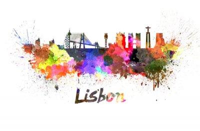 Obraz Lizbona skyline w akwareli