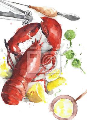 Lobster gotowane danie czerwone homara talerz owoców morza akwarela ilustracji samodzielnie na białym tle