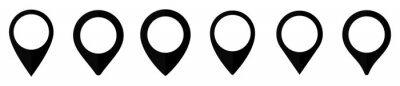 Obraz Location map pin icon set, Map pin markers, Location icon symbol, Global Positioning system sign, vector illustration