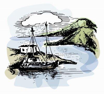 Obraz Łódź na falach w pobliżu brzegu. Ilustracja jachtu. Widok na plażę. Akwarela krajobrazu. Ilustracji wektorowych