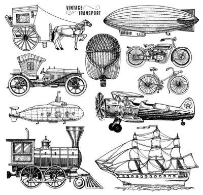 Obraz Łódź podwodna, łódź i samochód, motocykl, przewozy konne. Sterowiec lub dyrygent, balon powietrzny, samoloty kukurydzy, lokomotywa. Grawerowane ręcznie rysowane w starym stylu szkicu, zabytkowe transp