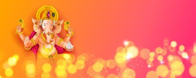 Obraz Lord Ganpati background for Ganesh Chaturthi festival of India with message meaning My Lord Ganesha