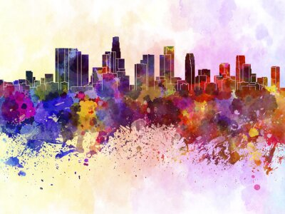 Obraz Los Angeles Skyline w akwarela