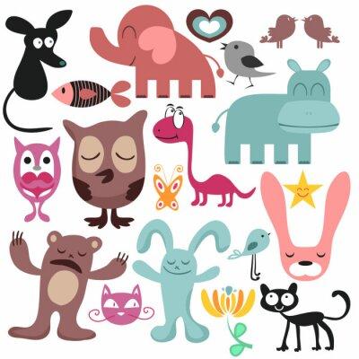 Obraz Losowy zestaw różnych zabawnych zwierząt