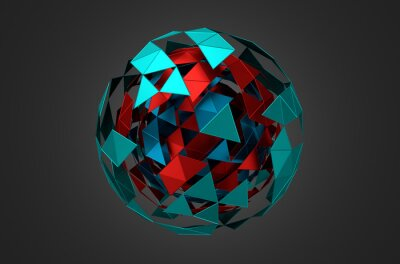 Obraz Low Poly Metal Sphere with Chaotic Structure.