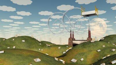 Obraz Łóżko w krajobraz fantasy