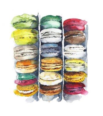 Makaroniki ciasto francuskie ciasteczka deserowe akwarela ilustracji samodzielnie na białym tle
