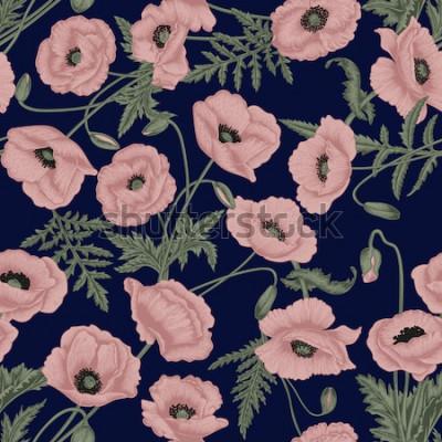 Obraz Maki. Wektorowy bezszwowy tło w rocznika stylu. Wzór roślinny. Rysunek botaniczny.