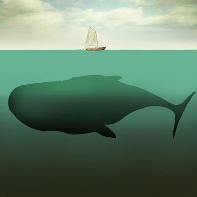 Obraz Mała łódź i gigantyczny wieloryb