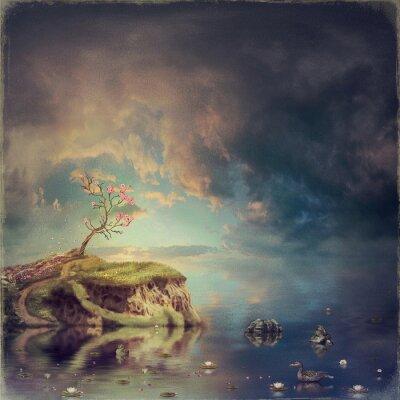 Obraz Mała wyspa z drzewa sakura na rzece