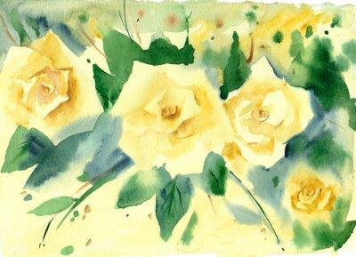 Obraz Malarstwo akwarelowe. Floral tła. ? Ó? Te ró? Ez zielonych li? Ci.