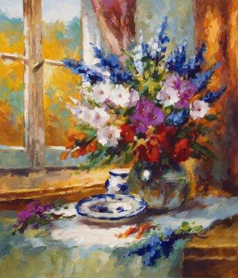 Obraz malarstwo, kwiaty, kolorowe motyw