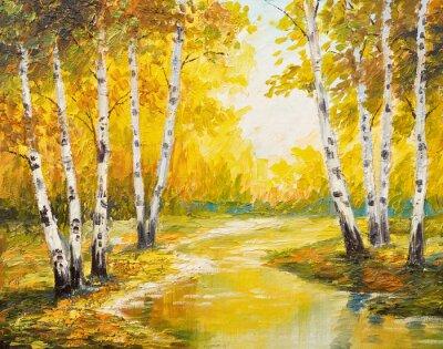 Obraz Malarstwo olejne krajobraz - las jesienią w pobliżu rzeki, pomarańczowe liście
