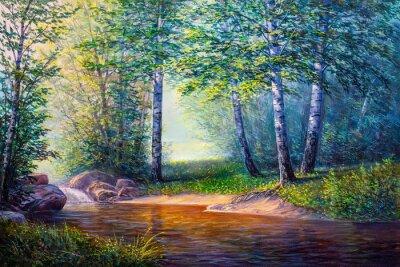 Obraz malarstwo pejzażowe wodospadu
