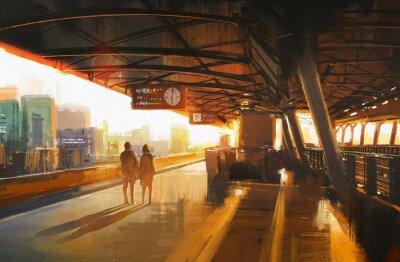 Obraz malarstwo przedstawiające parę czeka na pociąg na stacji