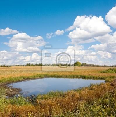 Małe jezioro w stepie