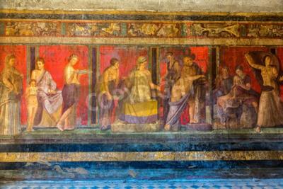 Obraz Malowane ściany w mieście Pompei zniszczone w 79BC przez wybuch Wezuwiusza
