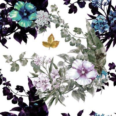 Obraz Malowanie akwarela liści i kwiatów, wzór bez szwu na białym tle