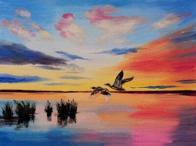 malowanie-Dźwigi oleju o zachodzie słońca, dzieła sztuki