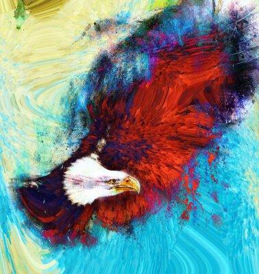 Obraz malowanie orzeł na tle abstrakcyjnych, USA Symbole Wolności