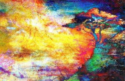 Obraz Malowanie słońca, morze i drzewa, tapety krajobraz, kolaż kolor