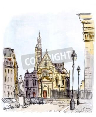 Obraz Malowanie ulicy miasta europejskiego, Paryż, akwarela