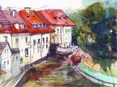 Obraz Malownicze czeskie małe miasteczko akwarela ilustracja plakat obraz olejny płótno architektoniczne ręcznie rysunek tło wzór włókienniczych pocztówka książka szkic