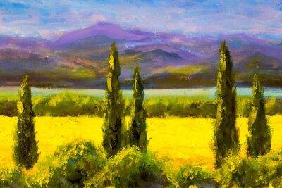 Obraz Malujący Włoski Tuscany cyprysu krajobrazu pola gór krzaki horyzontalnie sztuka