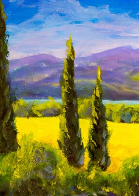Obraz Malujący Włoski Tuscany cyprysu krajobrazu pola gór krzaki pionowo
