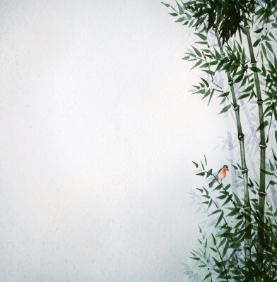 Obraz Mały ptak w bambusowym gaju. Obraz w stylu japońskim