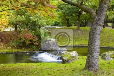 Mały wodospad w Ogród japoński, Hasselt, Belgia