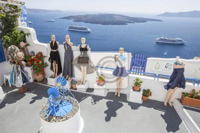 manekiny i morze liniowej na Santorini