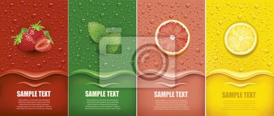 Obraz many fresh juice drops background with strawberry, mint, lemon, grapefrui