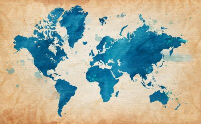 Obraz map of the world with a textured background and watercolor spots
