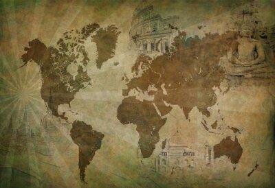 Obraz Mapa antyczny świat podróży
