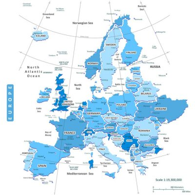 Obraz Mapa Europy Miasta