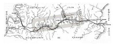Obraz Mapa Kanału Panamskiego, zabytkowe grawerowane ilustracji. Encyklopedia przemysłowa E.-O. Lami - 1875.