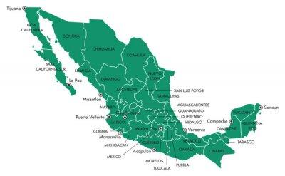 Obraz Mapa Meksyku z krajów i miast