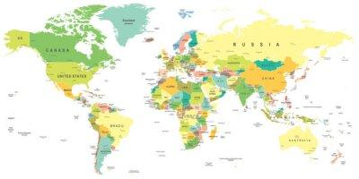 Obraz Mapa świata - bardzo szczegółowe ilustracji wektorowych.