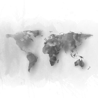 Obraz Mapa świata elementem, abstrakcyjne ręcznie rysowane akwarela szary