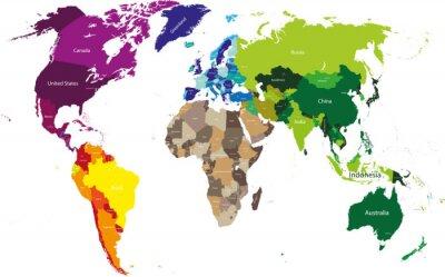 Obraz Mapa świata kolorowe wg kontynentów