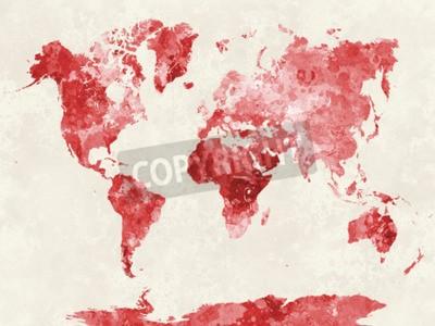 Obraz Mapa świata w akwarela Abstrakcyjne rozpryski