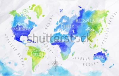 Obraz Mapa świata w kolorze zielonym i niebieskim na tle zmięty papier