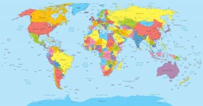 Obraz Mapa świata z krajów, w kraju i nazw miast