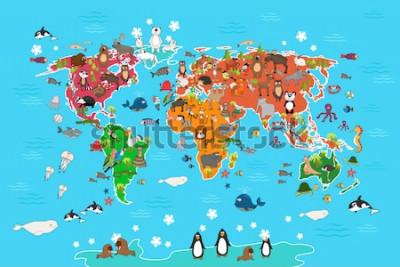 Obraz Mapa świata ze zwierzętami. Małpa i jeż, niedźwiedź i kangur, zająca wilcza panda oraz pingwin i papuga. Mapa świata zwierząt ilustracji wektorowych w stylu cartoon